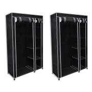 vidaXL Сгъваем гардероб, черен – 2 бр.
