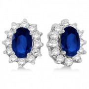 Oval Blue Sapphire & Diamond Accented Earrings 14k White Gold (2.05ct)