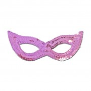 Light Pink Sequined Masquerade Mask With Cat Eyes