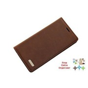 Rich Premium PU leather Wallet Flip carry case cover for Samsung Galaxy J5 Prime SM-G570F/DD - Brown + Free Cable Organiser