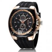 V6 Heren Militair horloge Polshorloge Kwarts Japanse quartz Rubber Band Zwart