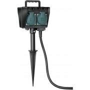 Prise pour jardin sur pic de mise en terre IP44 4 prises 1,4m H07RN-F 3G1,5