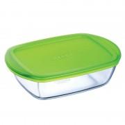 Pyrex Cook & Store téglalap alakú hőálló sütőtál műanyag fedővel 23x15 cm-es - 203063