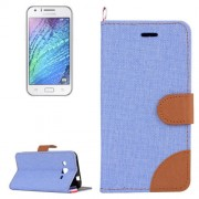 Denim Texture Horizontal Flip Leather Case with Holder & Card Slots for Samsung Galaxy J2 / J200(Blue)