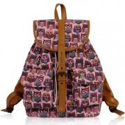 Batoh LS00269C - Peach Owl Print Rucksack Bag - Canvas