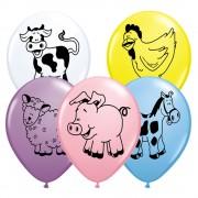 "Baloane latex 11"" inscriptionate Farm Animal Asortate, Qualatex 76477"