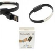 Cablu de Date USB Lightning Tip Bratara 22 cm Negru iPhone 5 5S 6 6S 6 Plus 6S Plus iPad