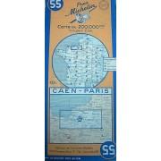 Carte Michelin Caen - Paris N° 55 - 1946