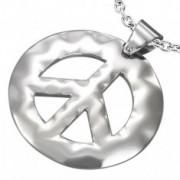 Rozsdamentes acél medál, béke szimbólum