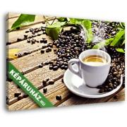 Egy csésze gőzölgő kávé fehér csészében (40x25 cm, Vászonkép )