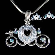 Swarovski Crystal Blue Pumpkin Cinderella Carriage Necklace Earrings