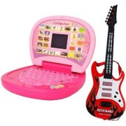 combo of Kids mini English Laptop with small screen guitar with light music(large) for kids