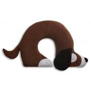 Leschi | Almohada de viaje (para coche, avión, tren y bus) | 36882 | El perro Charlie | Color: Chocolate / Medianoche