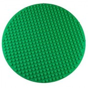 Premium 16 x 16 Double Sided Circular Silicone Baseplate Mat - Green Roll Up Base Plate with Large and Small Pegs - (C