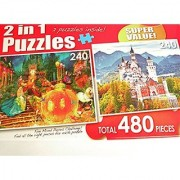 2 in 1 Puzzles Cinderella with Pumpkin Coach & a Beautiful Castle in Mountains 639277Total 480 Pieces