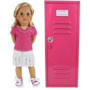 18 Inch Doll Clothes Locker fit for American Girl Doll Bed Rooms & More! 18 Inch Doll Furniture of Pink Metal Doll Locke