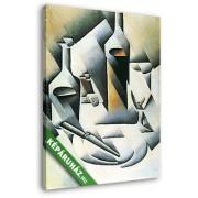 Juan Gris: Csendélet üvegekkel és késsel (20x25 cm, Vászonkép )