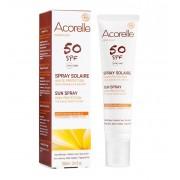 Био водоустойчив антиоксидантен слънцезащитен спрей без бели следи, за чувствителна кожа и деца Acorelle SPF 50, 100 мл