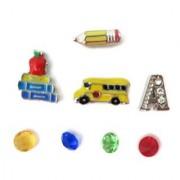 Floating Charms Set School Pencil A Books Apple School Bus Teacher & Gems 8 Pieces