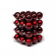 Gömb üveg 5,7cm bordó fényes-matt (36db / szett)