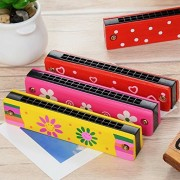 Trinkets & More - Wooden Colourful Best Harmonica   Musical Instrument for Kids   Best Return Gift Pack of 2 (Random Colours and Pattern)