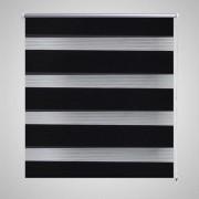 vidaXL Roleta Zebra / noc a den Twinroll 40 x 100 cm, černá