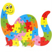 Magideal Set of Wooden Dinosaur Alphabet Puzzle Brain Teaser Toy Kids Alphabets Color Educational Gift Multicolor