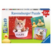Puzzle 3 in 1 - Animale adorabile, 147 piese