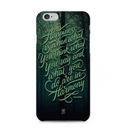 For Apple iPhone 6, iPhone 6S Happiness Quote Typography Inspirational Black Green - Designer Printed High Quality Smooth Matte Protective Mobile Case Back Pouch Cover by Creative Cases