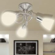 vidaXL Лампа за таван с 3 стъклени абажура, крушки тип Е14