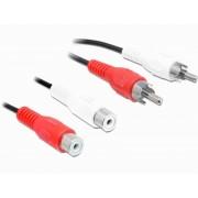 Cablu prelungitor audio 2x RCA (Tata) - 2x RCA (Mama) - 2m