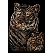 """Arte Incisione su lamina di rame Mini Kit 5 """"X 7""""-Tiger & Cub"""
