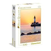 Clementoni 35003.2 Jigsaw Puzzle High Quality Collection 500 T, Sunset at Lighthouse Classic