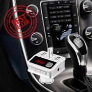 Premium 5-in-1 Bluetooth Carkit - Auto MP3 Speler FM transmitter LED Display Handsfree bellen 3 x (High Speed) USB Oplader SD,TF Card Ondersteuning USB Stick 3.5mm Jack AUX voor alle smartphones