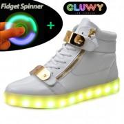 Blikajúce Tenisky LED - Gluwy bielozlaté