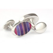 Mousie Bean Enamelled Cufflinks Symetrical Stripes 041 Tonal Purple
