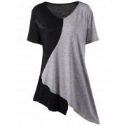 rosegal Asymmetrical Color Block Plus Size Long T-Shirt