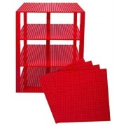 """Premium Red Stackable Base Plates 4 Pack 10"""" X 10"""" Baseplate Bundle With 60 Red Bonus Building Bricks (Lego Compatible) Tower Construction"""
