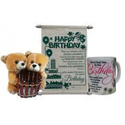 Gift For Girls- Couple Pen Stand Teddy With Birthday Scroll Card & Mug