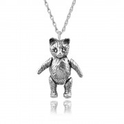 Moveable Teddy Bear Necklace, 925 Sterling Silver