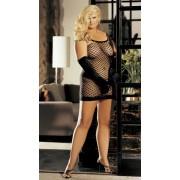 Shirley Of Hollywood - Plus Size Big Hole Fishnet Dress - Black