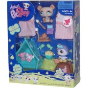 """Littlest Pet Shop Messiest Series Portable Collectible Gift Set - Owl (#924) and Brown Bear (#925) Plus 2 Sleeping Bags, Tent, """"Popcorn"""", """"Canned Sardines"""", 2 Fishes, Tree Log, Campfire and 2 Sticks with Marshmallow by HASBRO"""
