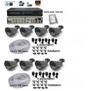 Kit videosorveglianza DVR P2P 8 telecamere HD varifocali 2,8-12mm 1tb