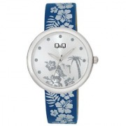 Q&Q Quartz Silver Round Women Watch KV53-351Y