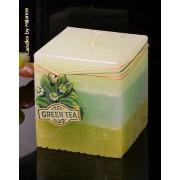 Groene Thee kaars, Vierkant, H: 10 cm