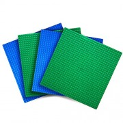 Variety pack LEGO -Compatible Baseplates -- Set of 4 - 10 X 10 -- Green and Blue -- By Creative QT