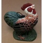 Cast iron multi colored rooster