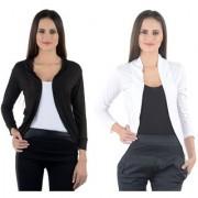 Aashish Fabrics - Combo Black n White Viscose Plain Shrug (Pack of 2)