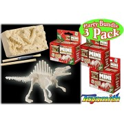 Toysmith Mini Glow In The Dark Dinosaur Excavation Kit Party Set Bundle 3 Pack (Assorted Dinos)