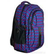 Károvaný batoh do školy L615-A růžovo-modro-šedý